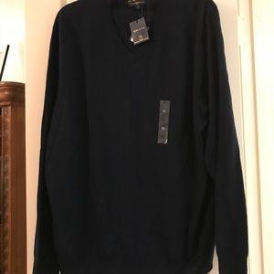 Men's Club Room Navy Wool V-Neck Sweater NWT